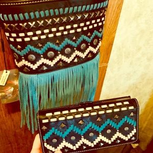 Aztec collection fringed purse&wallet NWT